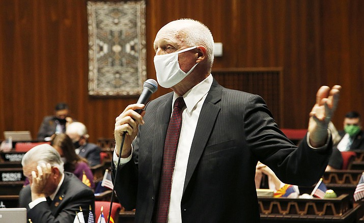 Arizona House Speaker Rusty Bowers, R-Mesa, speaks during a vote in the Arizona House of Representatives May 19, 2020, in Phoenix. Bowers has rebuffed his efforts to call a hearing of the House Federal Relations Committee to look at ways the 2020 election could have been tainted. (Ross D. Franklin/AP, file)