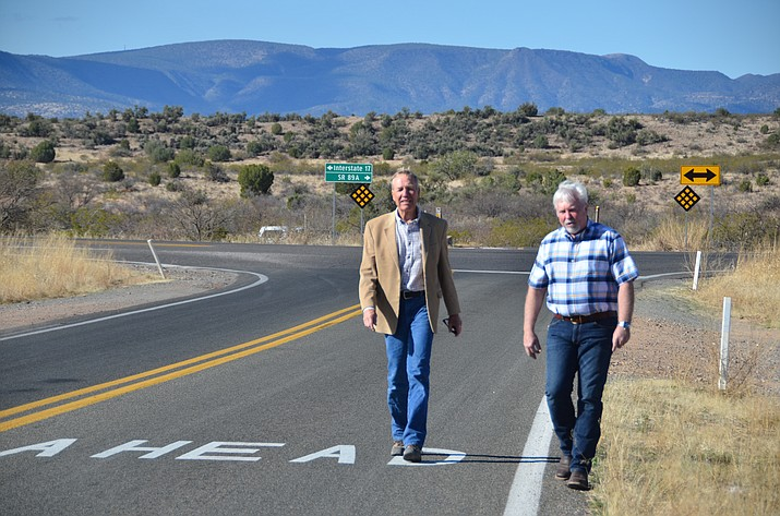 Yavapai County Supervisors Randy Garrison and Tom Thurman at the start of the proposed Verde Connect route at the intersection of Beaverhead Flats Road and Cornville Road. (Vyto Starinskas/VVN)