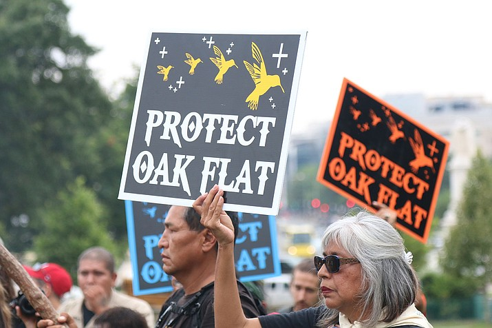 Activists have been protesting against the Resolution Copper mine at Oak Flat for years, including this 2015 protest in Washington. Opponents of the mine now worry that the Trump administration has fast-tracked the mine's final environmental impact statement – a claim both the mine and the U.S. Forest Service deny. (Jamie Cochran/Cronkite News)