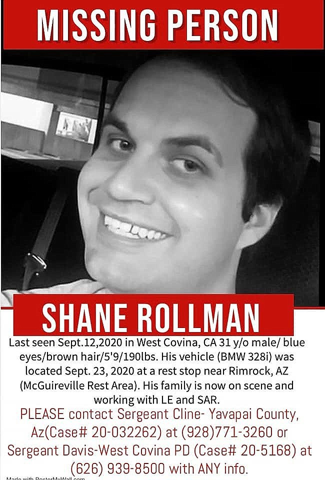 This flier shows Shane Rollman. He's a 31-year-old southern California man who disappeared from his home Sept. 12. He purchased items in Camp Verde and his car was found Sept. 24 at the McGuireville rest area. The FBI is now investigating. Courtesy image