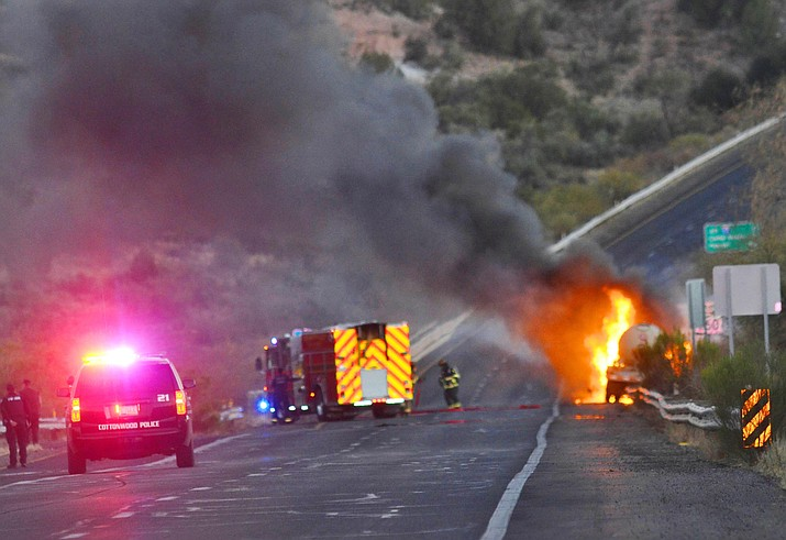 Firefighters douse a propane truck fire on State Route 260 Tuesday evening. VVN/Vyto Starinskas