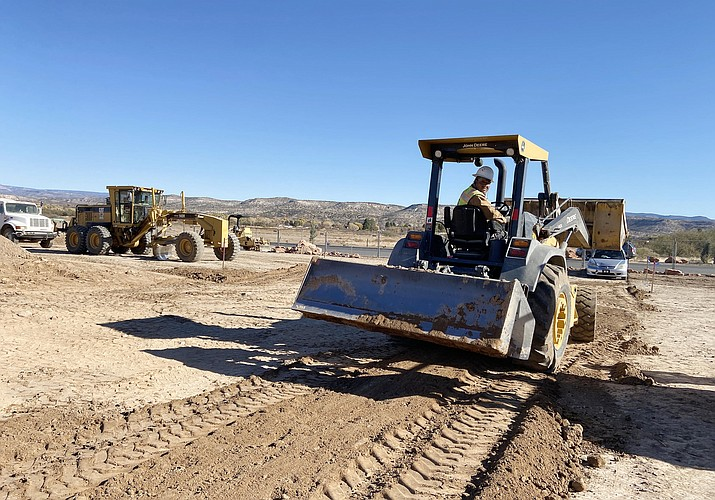 Polo Jimenez of KDC Construction, pictured, works on the site of the new Camp Verde AutoZone, on Finnie Flat Road north of the Dollar General store. According to Stephen Beckman, project superintendent, the new AutoZone should open sometime in April 2021. VVN/Bill Helm