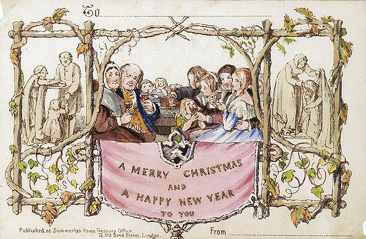 This photo provided Thursday, Dec. 3, 2020, by Battledore Ltd., of Kingston, N.Y., shows the first commercially produced Christmas card dated December 1843. The card, a hand-colored lithograph designed in England by John Callcott Horsley, is among the rare holiday-themed items being sold online through a consortium run by Marvin Getman, a Boston-based dealer in rare books and manuscripts, through the weekend beginning at noon on Friday, Dec. 4. (Dennis M V David/Battledore Ltd. via AP)