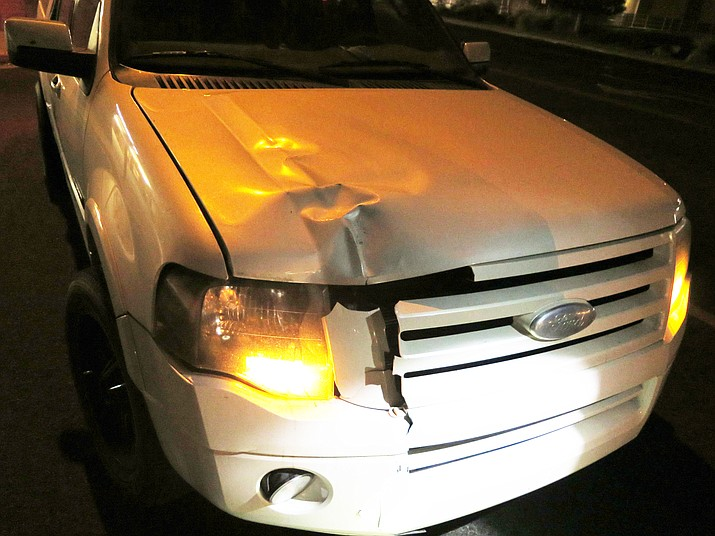 The damage is shown on a 2008 Ford Expedition after a Prescott driver hit Wendy Dodge, 56, while she crossed Willow Creek Road in Prescott without using a crosswalk Saturday, Dec. 5, 2020, Prescott Police said. Dodge was pronounced dead at Yavapai Regional Medical Center on Saturday night. (Prescott PD/Courtesy)