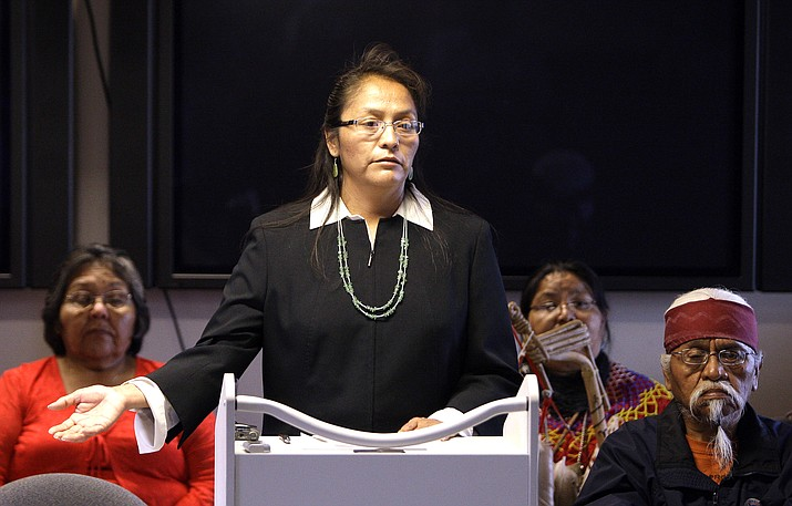 Arizona Havasupai and Tribal Council Member, Carletta Tilousi in 2010 during a a news conference. Tilousi was recently appointed as a member of the First Things First Coconino Regional Council. (AP Photo/Ross D. Franklin)