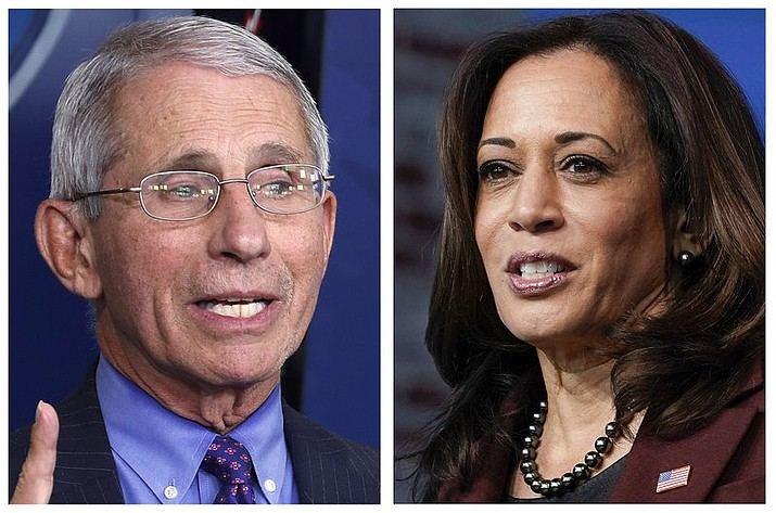 This combo of 2020 file photos shows Dr. Anotny Fauci, left, Director of the National Institute of Allergy and Infectious Diseases at the National Institutes of Health, and Vice President-elect Kamala Harris, right. Their names are listed among others atop this year's list of most mispronounced words, as complied by the U.S. Captioning Company, which captions and subtitles real-time events on TV and in courtrooms. (AP Photos/File)
