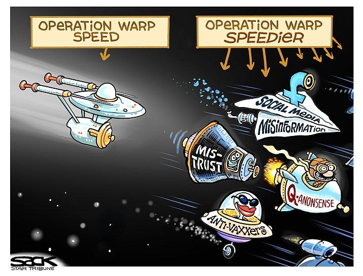 Editorial cartoon (2): Dec. 13, 2020