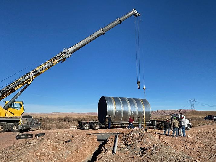 24,000 gallon water tank delivered to Cameron Old Farm. (Photo courtesy of Tolani Lake Enterprises)