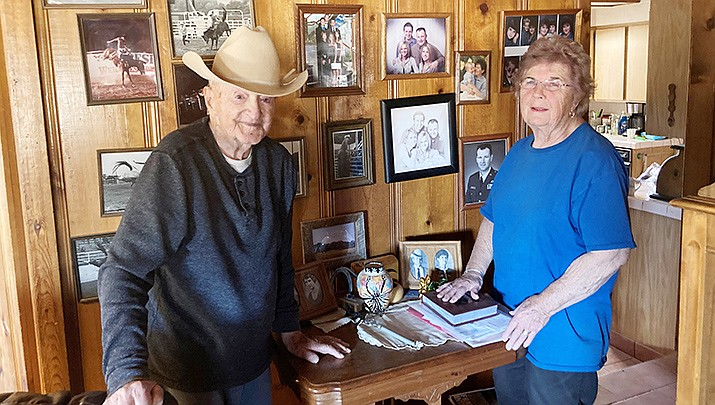 Wayne and Susie Welsh pose for a photo in their home of 60 years in Peeples Valley. (Photo by Nanci Hutson/For the Miner)