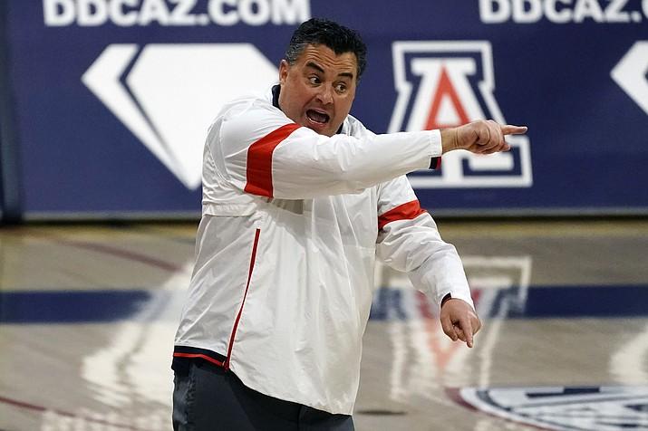 Arizona coach Sean Miller reacts to a play during the second half of the team's NCAA college basketball game against Colorado, Monday, Dec. 28, 2020, in Tucson, Ariz. Arizona won 88-74. (Rick Scuteri/AP)