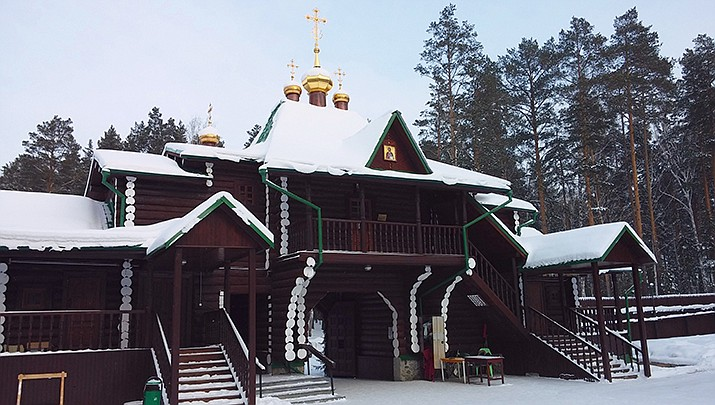 A Russian monk was taken from this monastery in the Ural Mountains and arrested on charges of inciting suicidal actions through sermons on Tuesday, Dec. 29. (Photo by Artem Murugov, cc-by-sa-3.0, https://bit.ly/2KHy1Xs)
