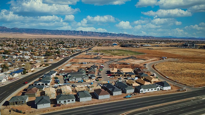 Parke Place, a cottage-style, rental apartment complex, as seen in this aerial view at the southeast corner of Long Look Drive and Glassford Hill Road in Prescott Valley. The complex is nearing completion and accepting reservations for tenancy. (Parke Place/Courtesy)