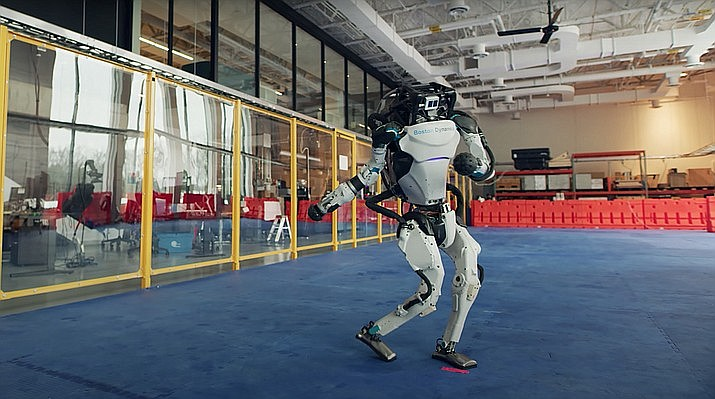 Boston Dynamics is infamous for its scary robot videos, but this one is clearly a playful attempt to close the books on 2020. (Boston Dynamics)