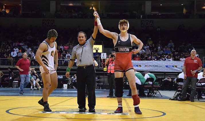 Mingus junior Conrad Brady, pictured, won the Division III 170 pound state championship in 2020. Mingus Union wrestlers will start the 2021 season on Jan. 20 against Marcos de Niza. VVN File Photo