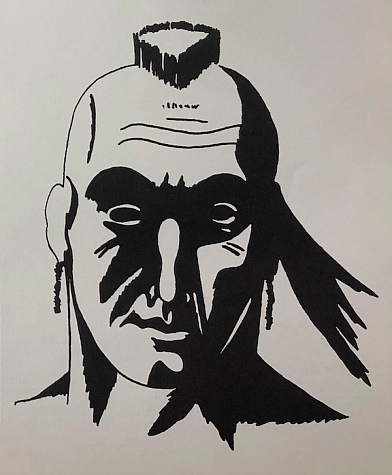 "The current version of the Indian mascot in the 1966 PV yearbook, ""The Warrior."" The Indian head mascot and nickname were retired in June of this year. (Photo courtesy of Pascack Valley High School student newspaper)"