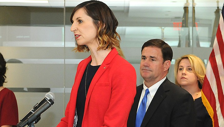 The Chandler Unified School District in suburban Phoenix has opted to return to class virtually after the holidays, following a suggestion made by state Superintendent of Public Instruction Kathy Hoffman, left. (File photo by Howard Fischer/For the Miner)