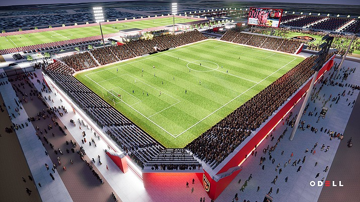 The new Phoenix Rising FC stadium that is under construction at Gila River Indian Community's Wild Horse Pass in Chandler will have increased capacity, improved facilities and a two-sided video board. (Rendition courtesy of Phoenix Rising FC)