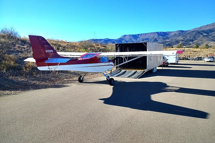 An airplane inside a box trailer was stolen from the Cottonwood Airport on New Year's Eve. Photo courtesy Cottonwood Police Dept.