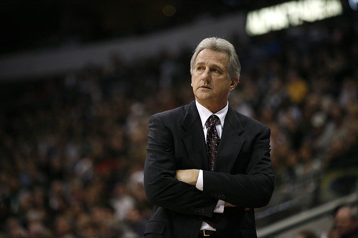In this Nov. 20, 2009 file photo, Sacramento Kings coach Paul Westphal looks on during an NBA basketball game against the Dallas Mavericks in Dallas. Westphal, the Hall of Fame basketball player has died. The Phoenix Suns confirmed his death Saturday, Jan. 2, 2021. (Tony Gutierrez/AP, file)