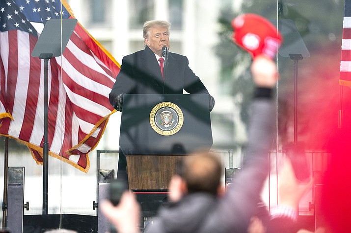 President Donald Trump speaks during a rally protesting the electoral college certification of Joe Biden as president Jan. 6, 2021, in Washington. (AP Photo/Evan Vucci)