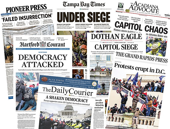 Newspapers around the United States and the world, including The Daily Courier, printed news Jan. 7, 2021, of the Washington, D.C. events of Jan. 6. (Newseum)