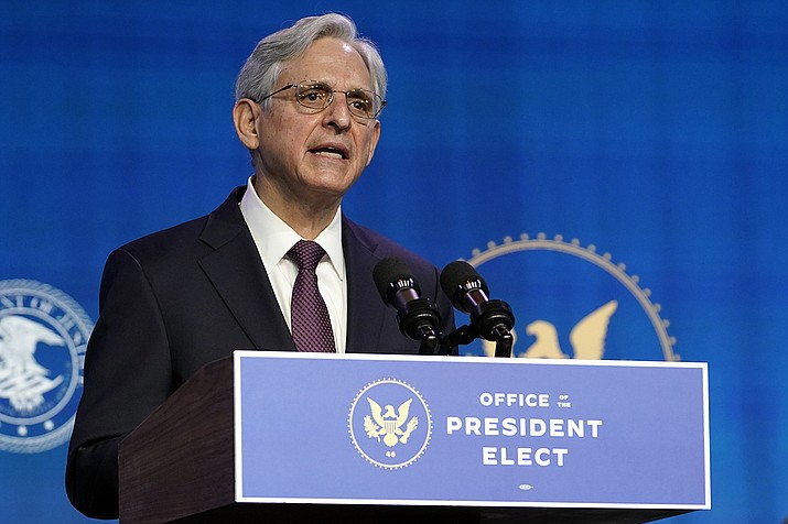 Attorney General nominee Merrick Garland speaks during an event with President-elect Joe Biden and Vice President-elect Kamala Harris at The Queen theater in Wilmington, Del., Thursday, Jan. 7, 2021. (Susan Walsh/AP)