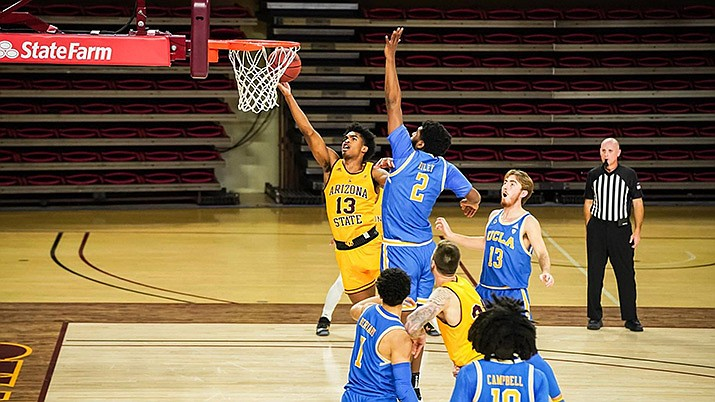 Joel Christopher of Arizona State had 22 points and 11 rebounds, but Arizona State fell to UCLA 81-75 in overtime in NCAA basketball action on Thursday, Jan. 7. (Sun Devil Athletics photo)