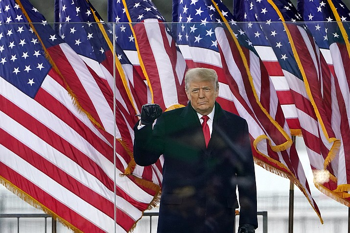 President Donald Trump arrives to speak at a rally Wednesday, Jan. 6, 2021, in Washington. (Jacquelyn Martin/AP)