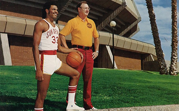 Lionel Hollins, left, and coach Ned Wulk led the Arizona State men's basketball team to the Elite Eight in 1975. (Photo courtesy Sun Devil Athletics)