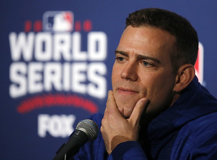 In this Oct. 27, 2016 photo, Chicago Cubs president for baseball operations Theo Epstein speaks during a news conference for Game 3 of the Major League Baseball World Series against the Cleveland Indians, in Chicago. (Charles Rex Arbogast/AP, File)