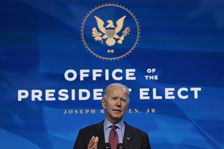President-elect Joe Biden speaks during an event at The Queen theater in Wilmington, Del., Friday, Jan. 8, 2021, to announce key administration posts. (Susan Walsh/AP)