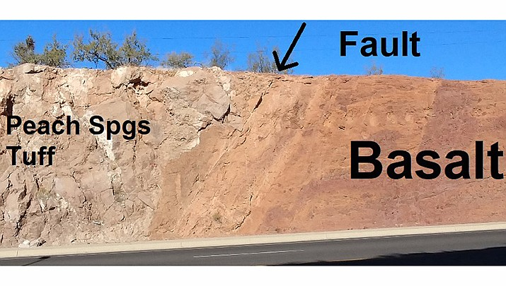 This photo shows a fault where basalt gives way to Peach Springs tuff in Kingman. (Photo by Luis Vega/For the Miner)