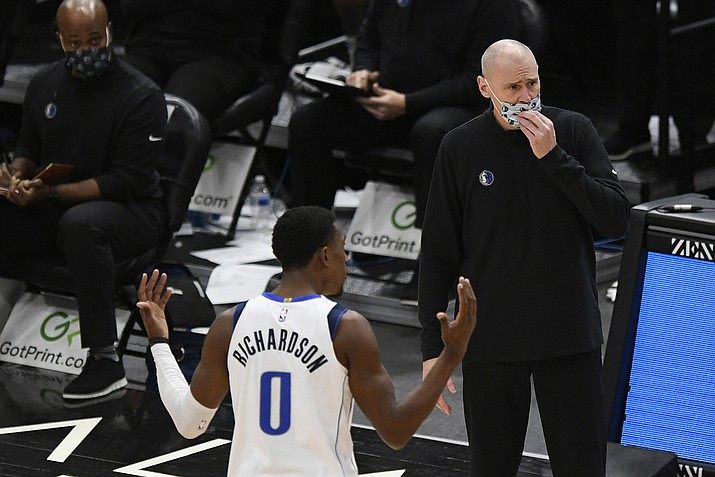 Dallas Mavericks head coach Rick Carlisle and Josh Richardson (0) argue with referees after Richardson was called for a foul during the second half of an NBA basketball game against the Chicago Bulls, Sunday, Jan. 3, 2021, in Chicago. (Paul Beaty/AP)