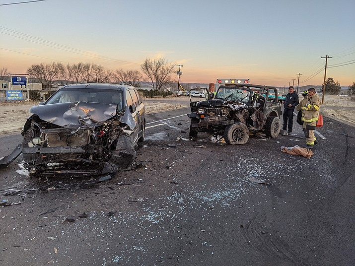 A 2013 Toyota minivan and a Jeep Wrangler sit in the middle of Highway 89 in Chino Valley after a three-vehicle collision delayed traffic for at least two hours Tuesday, Jan. 12, 2021. (CVPD/Courtesy)