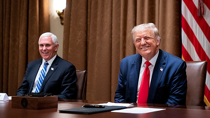 Vice President Mike Pence and President Donald Trump are shown during happier days in this White House file photo. The pair met Monday, Jan. 11 after not speaking following the riot at the U.S. Capitol on Wednesday, Jan. 6. (Official White House photo/Public domain)