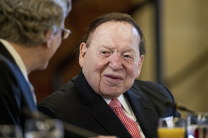 Chief Executive of Las Vegas Sands Corporation Sheldon Adelson shows at a business roundtable with Japanese Prime Minister Shinzo Abe at the U.S. Chamber of Commerce in Washington in 2017. Adelson, the billionaire mogul and power broker who built a casino empire spanning from Las Vegas to China and became a singular force in domestic and international politics has died after a long illness, his wife said Tuesday, Jan. 12, 2021. (Andrew Harnik, AP File)