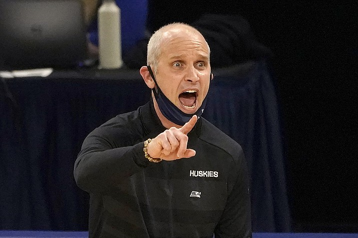 UConn head coach Dan Hurley directs his team during the second half of an NCAA college basketball game against DePaul, Monday, Jan. 11, 2021, in Chicago. (Charles Rex Arbogast/AP)