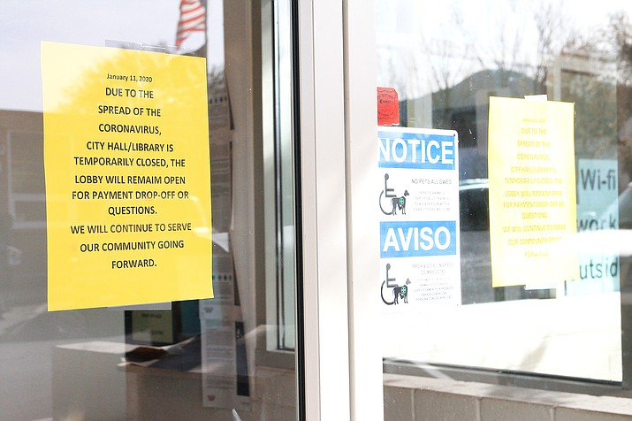 Two city employees at the City Hall in Williams have tested positive for the coronavirus. In response, city offices and Williams Public Library will be closed for up to two weeks. The front lobby of City Hall remains open for bill payments and other city business. (Loretta McKenney/WGCN)
