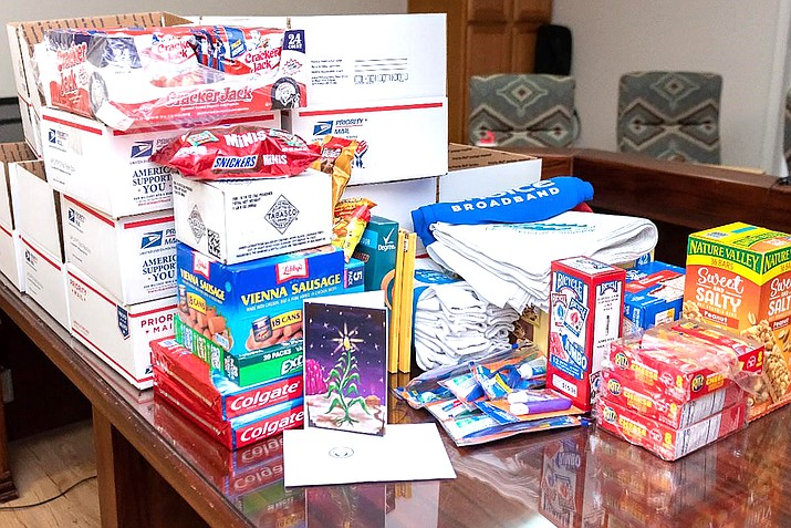 Items included in the holiday care packages sent to more than 80 Navajo service members in the US Armed Forces currently serving abroad include an assortment of packaged snack items, handkerchiefs, playing cards, oral hygiene products and more. (Photo/Navajo Nation Office of the Speaker)