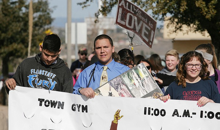 Since he was 6 years old, Camp Verde resident Chandler Plante has held Martin Luther King Jr. Day marches down Camp Verde's Main Street. Monday's march and celebration marks the 10th consecutive celebration in Camp Verde. VVN/Bill Helm