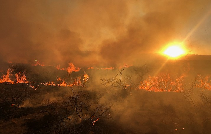Firefighters responded to a smoke report on Sunday, Jan. 17, that turned out to be one of Yavapai County's first major wildfires of 2021. As of early Monday, Jan. 18, the Sour Fire has charred 1,200 acres in an area north of State Route 169 and just east of Cherry Creek Road, according to Prescott National Forest. Courtesy of Prescott National Forest