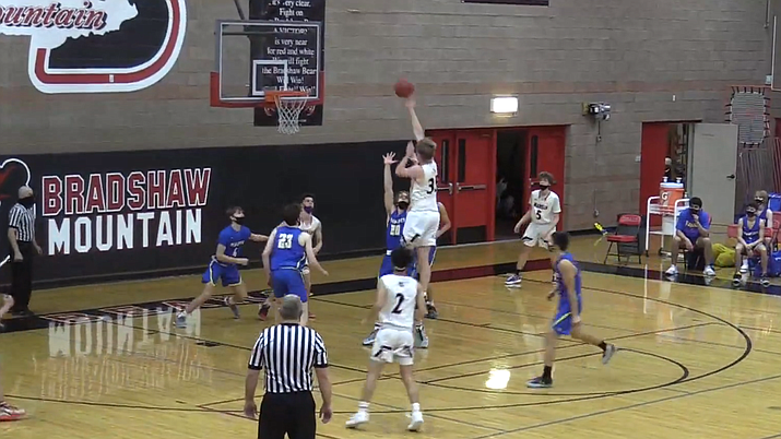 Bradshaw Mountain center Nate Summit (35) puts up a floater in the lane during a game against Prescott on Tuesday, Jan. 19, 2021, in Prescott Valley. (Screenshot/KYCA livestream)