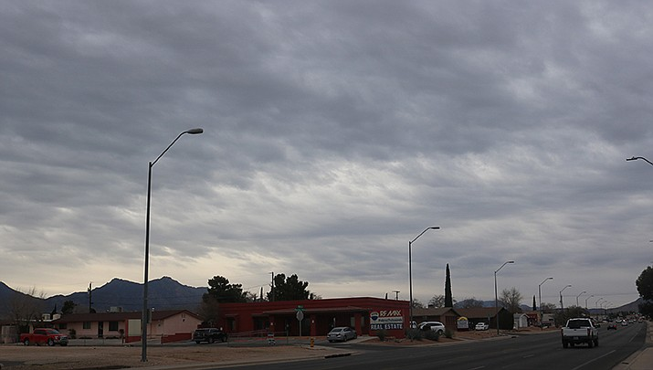 Clouds were building over Kingman the morning of Tuesday, Jan. 19. (Photo by Travis Rains/Kingman Miner)