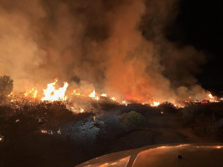Firefighters responded to a smoke report on Sunday, Jan. 17, that turned out to be one of Yavapai County's first major wildfires of 2021. As of early Tuesday, Jan. 19, the Sour Fire has charred 1,200 acres in an area north of State Route 169 and just east of Cherry Creek Road, and is 20% contained, according to Prescott National Forest. Courtesy of Prescott National Forest
