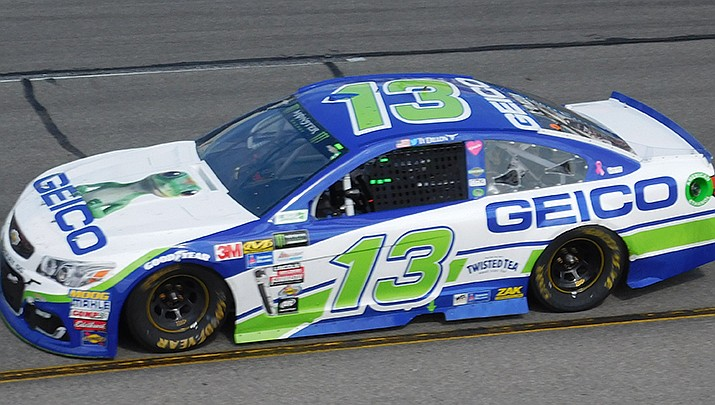 Ty Dillon, grandson of NASCAR owner Richard Childress, has landed a ride for the Daytona 500 on Feb. 14 with Gaunt Brothers Racing. Dillon is shown in action at Richmond International Speedway iin 2017. (Photo by Zach Catanzareti, cc-by-sa-2.0, https://bit.ly/3itasxJ)
