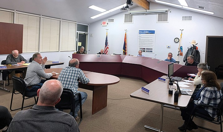 Scott Towsley and Bruce Voigt address the Williams City Council Jan. 14. Towsley and Voigt answered questions about the proposed Canyon Coaster Adventure Park, which includes a tubing hill and coaster track. (Loretta McKenney/WGCN)