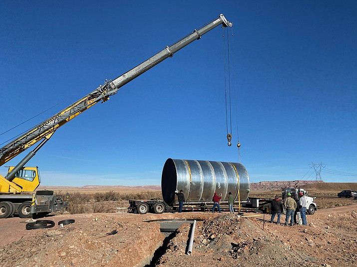 A 24,000 gallon water tank delivered to Cameron Old Farm site by Tolani Lake Enerprises, part of CARES Act legislation. (Photo/Tolani Lake Enterprises)