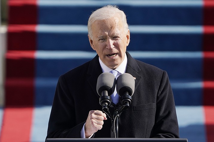President Joe Biden speaks during the 59th Presidential Inauguration at the U.S. Capitol in Washington, Wednesday, Jan. 20, 2021. (Patrick Semansky/AP, Pool)