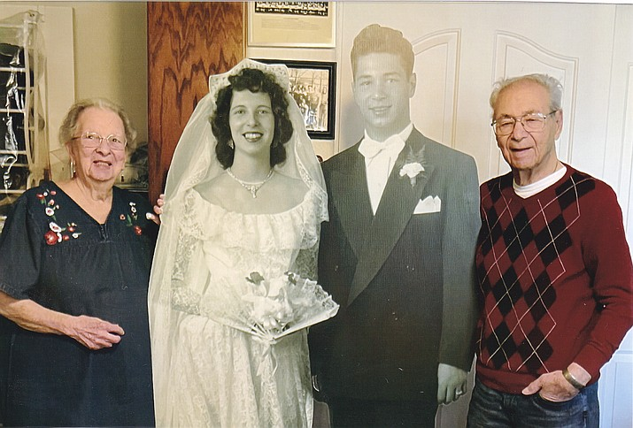 Samuel Mondello and Regina (Jean) nee Englert of Prescott Valley were married in Chicago, Illinois, on Dec. 2,1950. They have five children, eight grandchildren and three great grandchildren. The couple could not celebrate their 70th anniversary due to COVID, so their family devised a virtual surprise party with the help of modern technology, complete with a life-size reproduction of their wedding picture. On Dec. 2, 2020, the couple was deluged with cards, emails, texts, video messages, FaceTime, phone calls and a slide show of 600 Vintage photos from friends and family. They have lived in Prescott Valley since 2003, where they founded and presided over the Tri-City Table Tennis Club from 2004 to 2010. The club is still active at the Prescott Valley Moose Lodge. (Courtesy)