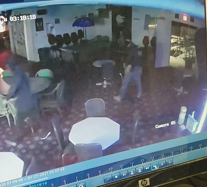 This screen shot is from video taken during the theft of an ATM from the American Legion in Golden Valley. (Courtesy photo provided by MCSO)